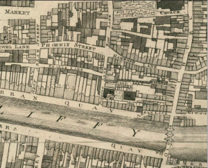 Hammond Lane, Dublin on rocque's map 1756