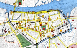 Howard Clarke map of medieval Dublin ontop of modern city outlines