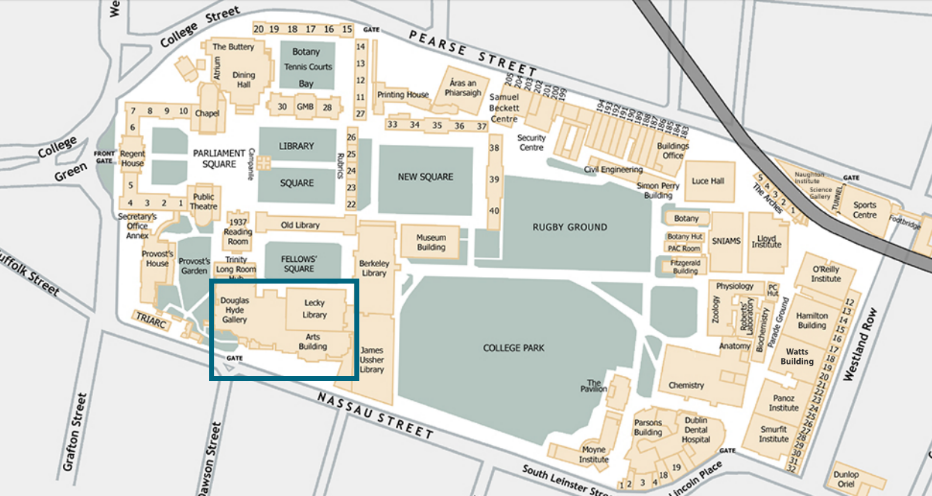 TCD Map with Arts Block